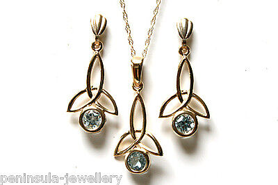 9ct Gold Blue Topaz Celtic Pendant and Earring Set Made in UK Gift Boxed