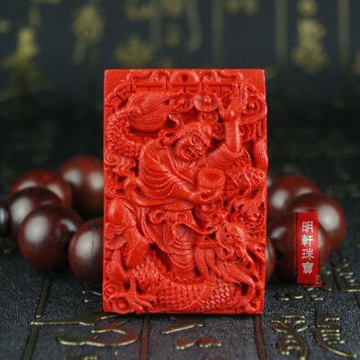 Natural Red Cinnabar Carved Lacquer Chinese Arhat Buddha Dragon Pendant Necklace