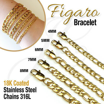 "18K Gold Plated Stainless Steel 316L Figaro Chain Bracelet Men Women 7.5""-10.5"""