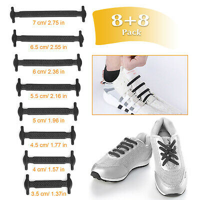 16PCS Lazy Elastic Silicone Shoelaces No Tie Easy Sneakers Running Shoe Laces UK