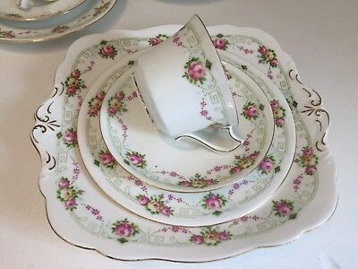Paragon Star Vintage Bone China Tea Set Early Art Deco 1920s Pink Rosebud Swags