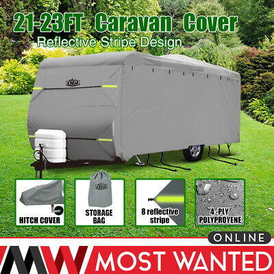 Premium Caravan Cover 21-23FT 4 Ply Breathable Waterproof Hitch Cover Heavy Duty