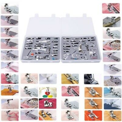 52Pcs Domestic Sewing Machine Foot Presser Feet Kit For Singer Brother Janome