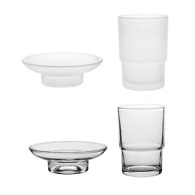Livpow Glass Tumbler Toothbrush Cup and Soap Dish Replacement Bathroom Spare Set