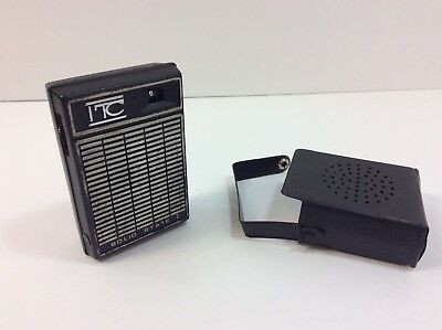 Vintage ITC Pocket Transistor AM Radio Solid State 7 Black Tested Working
