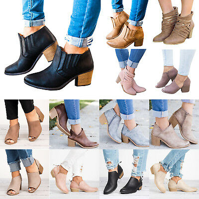 Womens Mid Block Heel Round Toe Boots Zipper Chunky Ankle Booties Casual Shoe AU