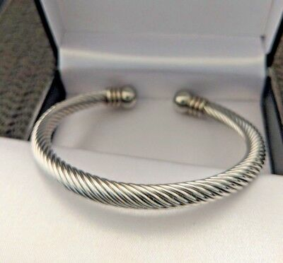Mens Silver Stainless Steel Chunky Twisted Rope Torque Ball End Bangle 6 mm 24g