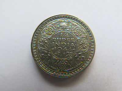 1944 INDIA SILVER 1/4 RUPEE in VERY NICE COLLECTABLE CONDITION KING GEORGE VI
