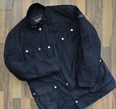 Barbour International Men'S Duke Waxed Cotton Jacket L Xl Waterproof Wax Black