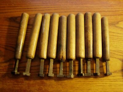 """10--Antique Bronze Or Brass Bookbinding Gilding Leather Tool Stamps 3/4"""" Letters"""