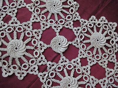 Lovely Vintage Handmade Cotton Crochet Ecru Rhomboid  Doily Tablecloth