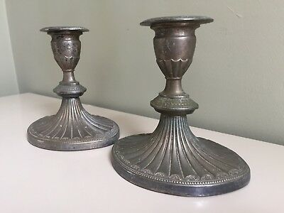 PAIR Vintage Silver Plated EPNS Candlesticks Candle Holders Dull Matt Unpolished