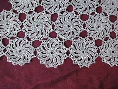 Beautiful Vintage Handmade Cotton Crochet Light Ecru Rhomboid Tablecloth