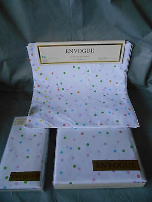 """9pc ENVOGUE Pastel Polka Dot 70"""" Round Table Cloth 4 Placemats 4 Napkins Easter"""