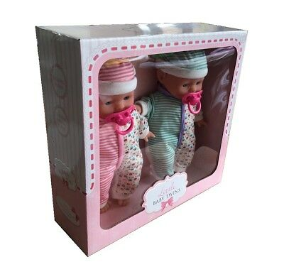 Little Baby Twins Set of 2 Baby Dolls With Dummy Accessory - Pink & Green