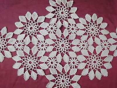 Beautiful Vintage Handmade Cotton Crochet Ecru Rhomboid Tablecloth