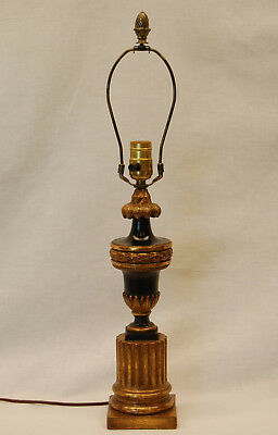 Carved Wood Gilt Table Lamp in Black Paint and Gold Leaf, Mid-20th Century
