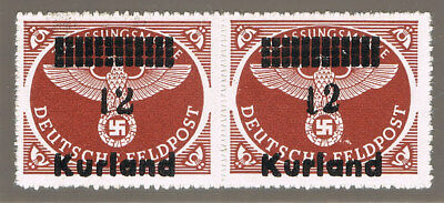 LANDESPOST KURLAND 4By ** Paar mit Abarten = GERMAN OCCUPATION OF LATVIA