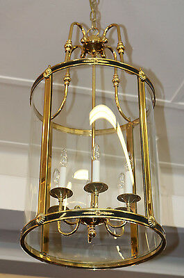 MONUMENTAL Bowed Glass Brass Lantern Lamp Chandelier French Empire 1 of 2