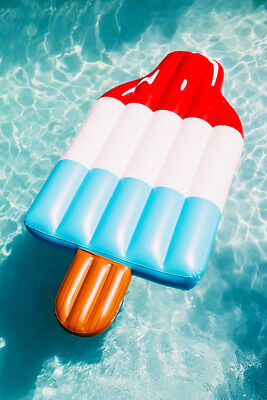 Giant Popsicle Pool Float Inflatable Ice Pop Pool Raft Red White & Blue - USA