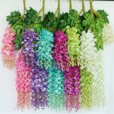 1PC Artificial Silk Wisteria Flower Leaf Hanging Vine Wedding Home Party QWHXN