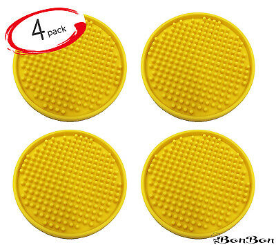 BonBon Silicone Drink Coasters – 4 Piece Set Pack - Yellow Rubber Bar Beer Wine