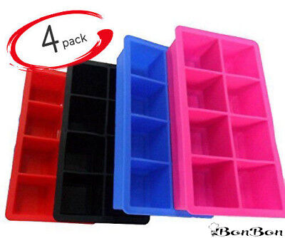 BonBon Large Ice Cube Tray 2-Inch Silicone Flexible 8 Cavity Maker 4x 4 Colors