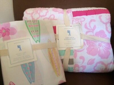 POTTERY BARN KIDS Surf Patch Twin Quilt & Pacific Surf Twin Sheets Set NEW -PINK