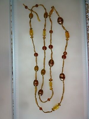 Vintage Style Necklace Murano Glass Brown Copper oval and round bead Flapper 22""