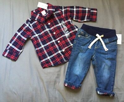 3691febd8 BABY BOY 6-12 Month Baby Gap Red Plaid Button Up Shirt & Lined Denim ...
