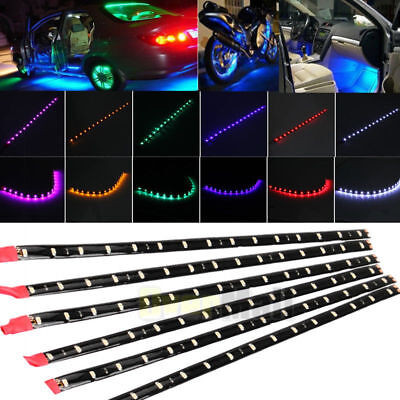 "Waterproof 6Pack  motor car DC12V 1Ft 15LED Strip Underbody Light with 6"" wire 4"