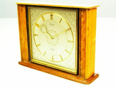 Golden Beautiful Rare Later Art Deco Bauhaus Brass Desk Clock  Kienzle