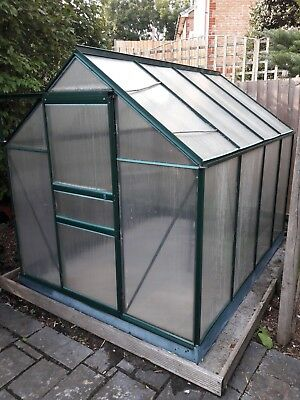 8 X 6 Used Polycarbonate Greenhouse with sliding door and window opening
