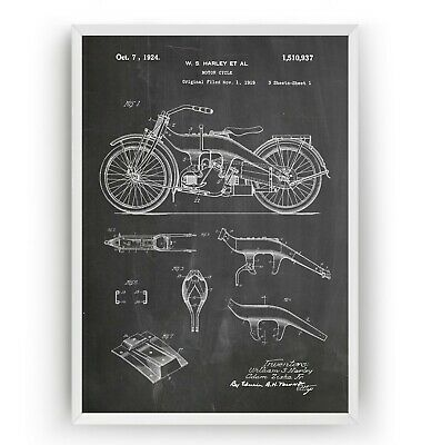 Harley Davidson Patent Art Prints - Motorcycle Poster Wall Decor Gift - Unframed