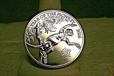 2016 Great Britain Silver Lunar Year of the Monkey £2 - 1 oz -
