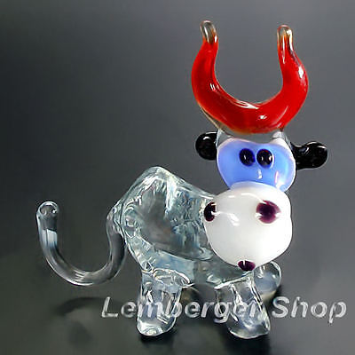 Glass figurine cow made of colored glass. Lenght 6 cm / 2.4 inch!