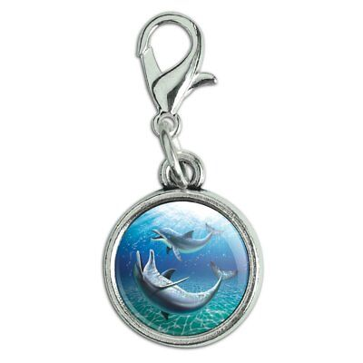 Dolphin and Baby Having Fun Ocean Antiqued Bracelet Charm with Lobster Clasp