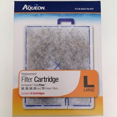 "Aqueon Filter Cartridge Pad Quiet Flow 20 30 50 55 75  Large ""L""  6 Pack"