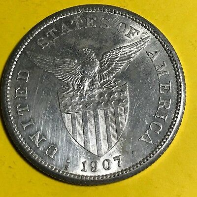Us Philippines One Peso 1907-s #405 Asia