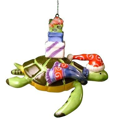 Santa Hat Sea Turtle Coastal Tropical Christmas Holiday Glass Ornament