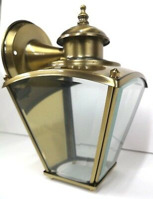 Outdoor ANTIQUE BRASS Wall PORCH Light Fixture NEW by Crystal Lamp Parts BEVELED