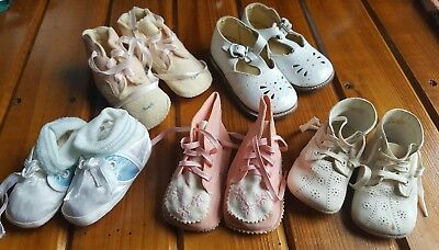 Vintage Baby Shoe Lot of 5  Soft Leather Cloth Assorted Sizes Child Toddler CUTE