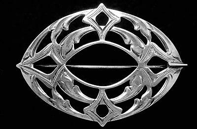 Antique Victorian Sterling Silver Large Pin Nicely Etched 23926