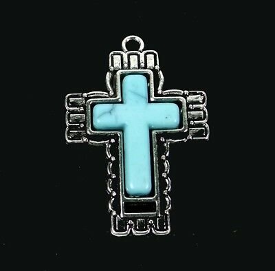 42x29mm Antique Silver Pewter Blue Turquoise Ornate Cross Pendant
