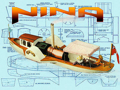 Build R/C model of steam driven Paddle Launch full size Printed PLANS & Article