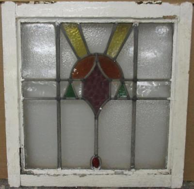 "OLD ENGLISH LEADED STAINED GLASS WINDOW Pretty Burst with Drop 20"" x 20.25"""