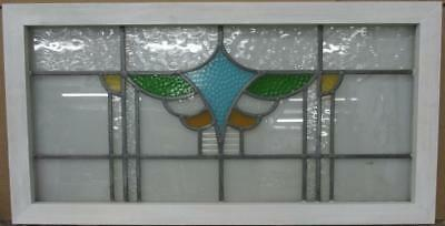 """OLD ENGLISH LEADED STAINED GLASS WINDOW TRANSOM Pretty Abstract 36.25"""" x 18.75"""""""