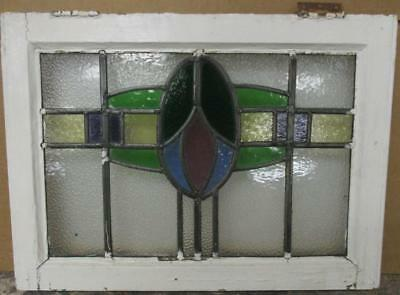"""OLD ENGLISH LEADED STAINED GLASS WINDOW Pretty Colorful Band Design 22"""" x 16"""""""