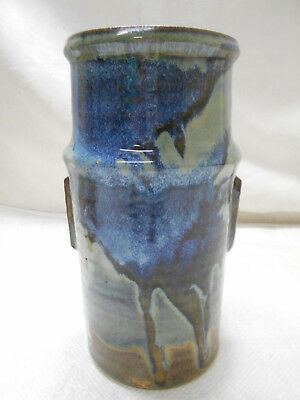 Vintage Handmade Pottery Vase Dripped Glaze Signed Collectable Japanese #13