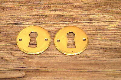 2 Vintage Brass Keyhole Covers